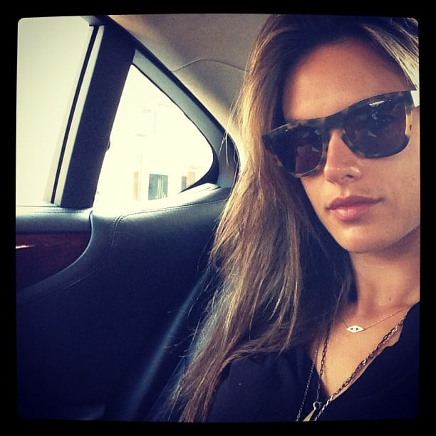 Alessandra Ambrosio snapped a selfie while in the car. Source: Instagram user alessandraambrosio