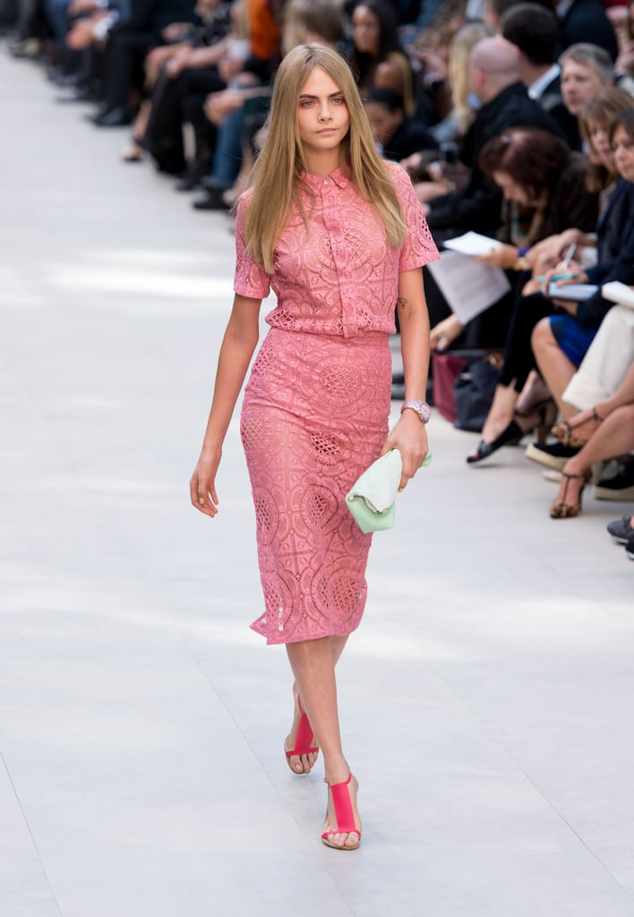 Cara Delevingne walked the runway at the Burberry Prorsum Spring '14 show.