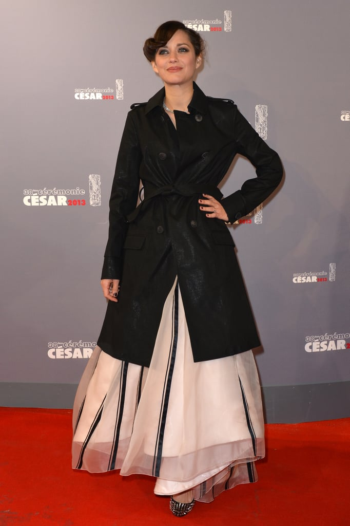 Marion Cotillard braved the snow for the César Awards in Paris.