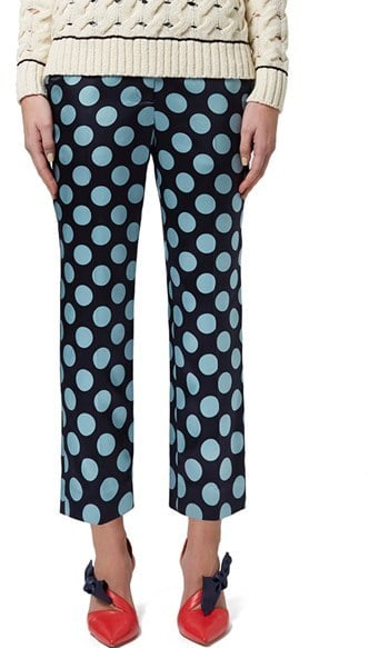 Topshop Unique Selystan Polka-Dot Silk Flare Trousers ($250)