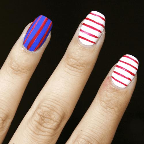 DIY 4th of July Striped Nail Art