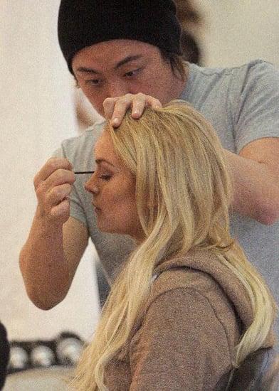 Lindsay Lohan getting makeup done
