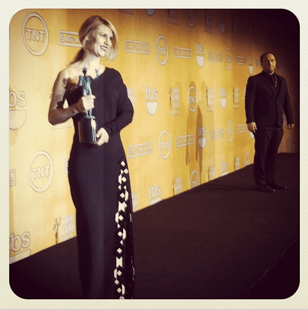 Claire Danes showed off her award . . . and her Givenchy dress. Source: Instagram user marcmalkin