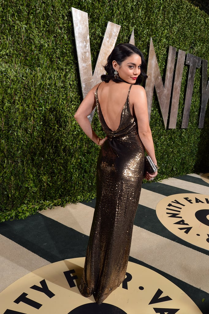 Vanessa Hudgens arrived at the Vanity Fair Oscar party on Sunday night.