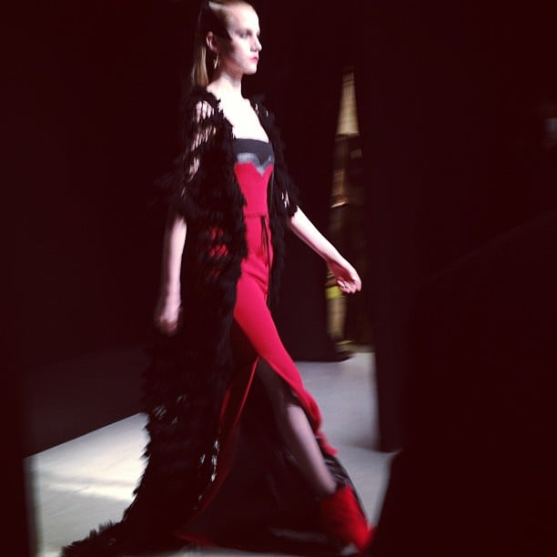 Thigh-high slits and red dresses at Alexis Mabille.