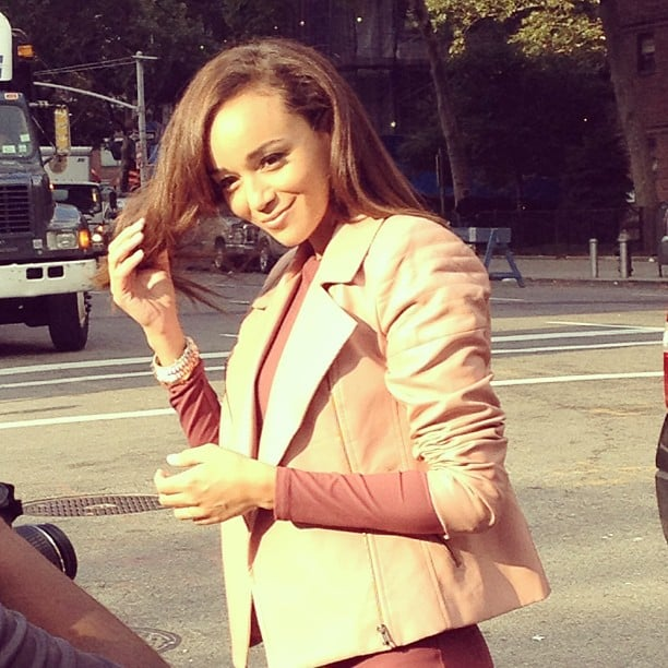We spotted Ashley Madekwe primping near the tents.