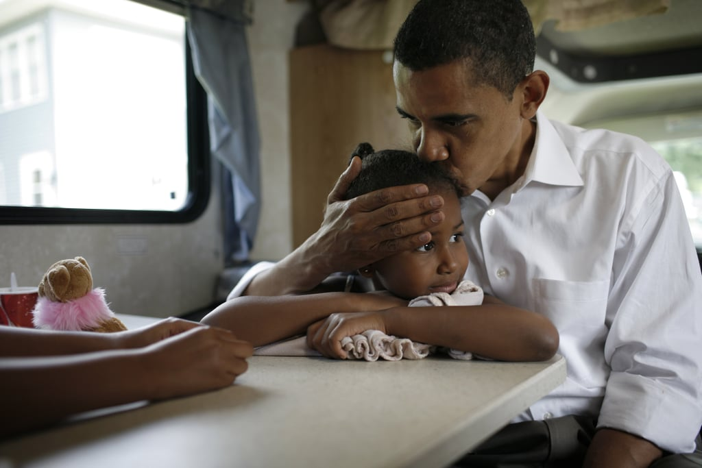 Barack shared a sweet moment with Sasha in 2007.