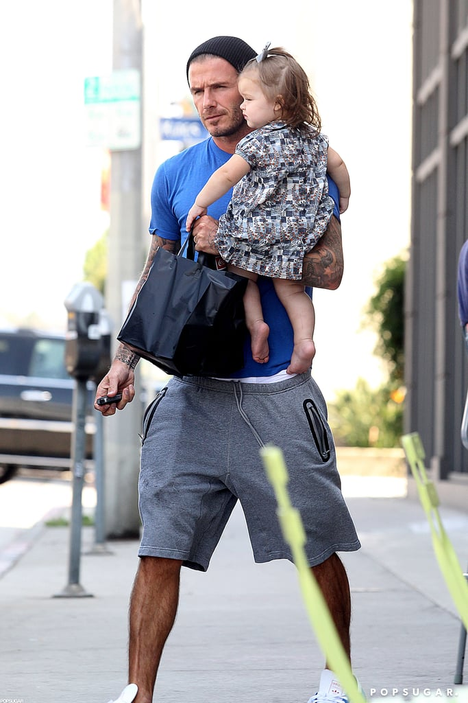 David Beckham carried Harper in LA.
