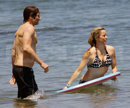 Photo Slide of David Duchovny and Tea Leoni at the Beach in Malibu