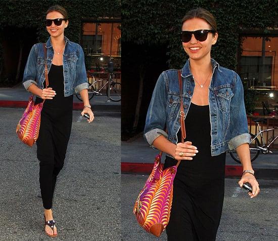 Victoria's Secret Model and Orlando Bloom's Girlfriend Miranda Kerr in LA Wearing a Black Maxi and Denim Jacket