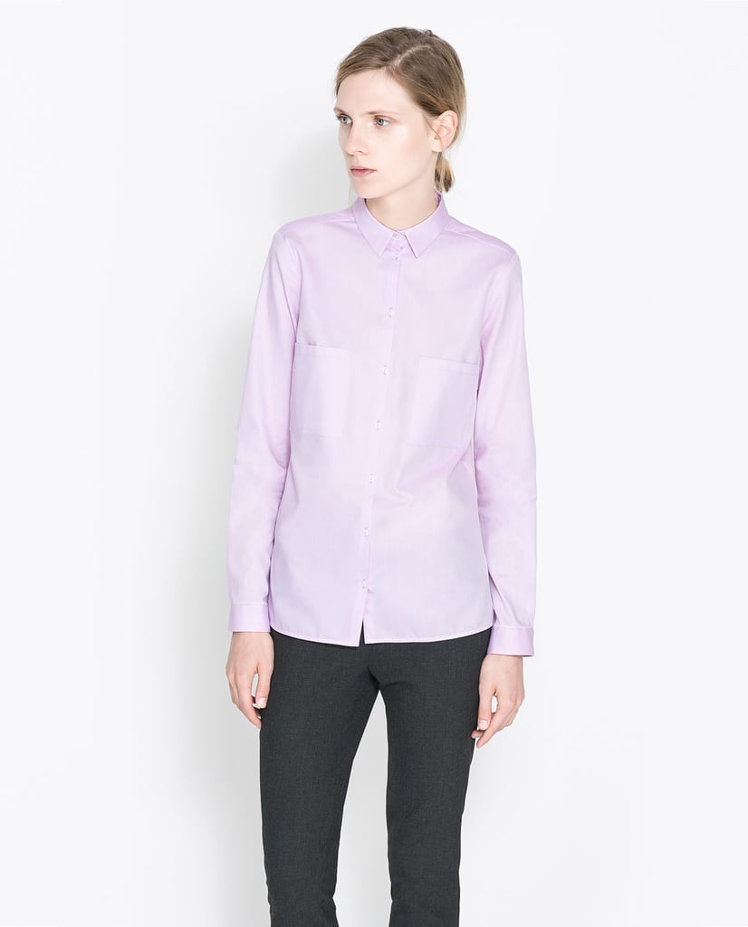 Button this Zara twill shirt ($36) up to the top, and pair with a sleek pencil skirt for a superpolished office ensemble.