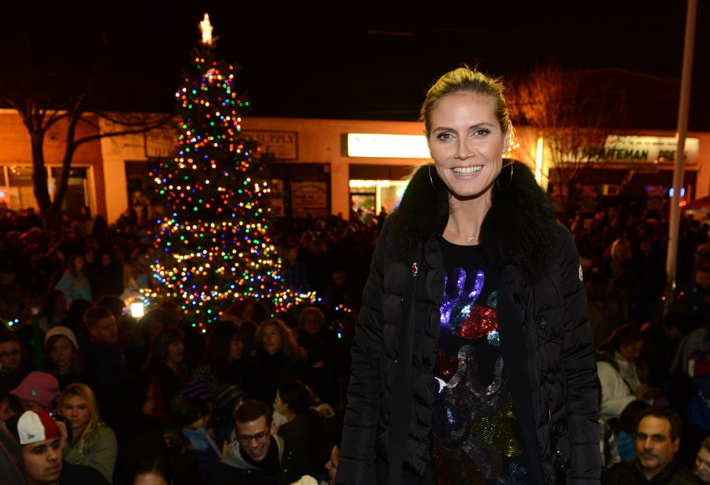 Heidi Klum attended a tree-lighting ceremony to benefit Hurricane Sandy Relief Efforts in Lindenhurst, NY.
