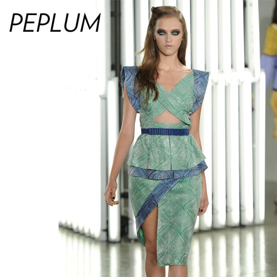 Why we love it: The peplum silhouette instantly adds shape and dynamic. Plus, riffing off the nipped-waist look, a pop of peplum gives definitive structure with a dash of flirty ruffle. How to wear it: The peplum shape isn't just for evening attire. Don this take on fit-and-flare via a work-appropriate frock or jazz up your weekend look with a peplum-infused jersey dress.  Photo: Rodarte Spring 2012