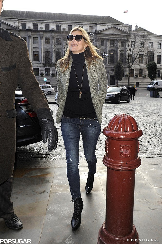 Kate Moss sported jeans and a blazer in London.