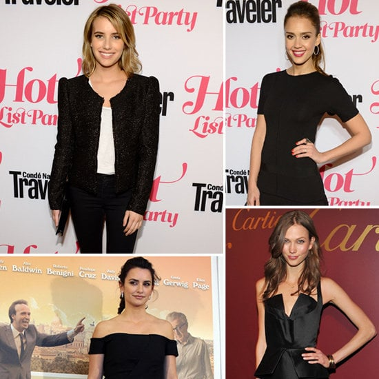 Celebs showed how to make the most of basic black — see six inspiring ways to wear the hue at night.