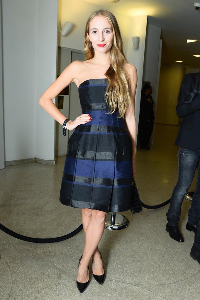 Harley Viera-Newton in Black and Navy Dior Dress