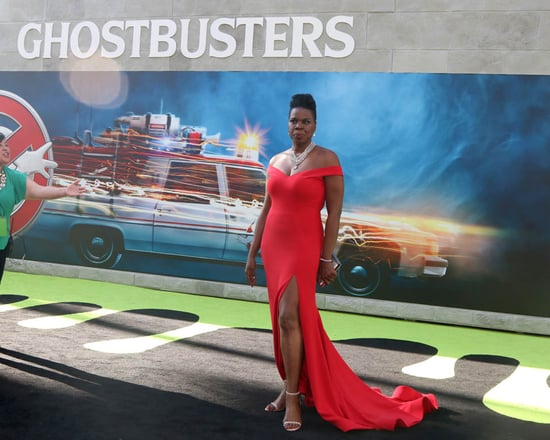 Leslie Jones in red Christian Siriano at Ghostbusters premiere