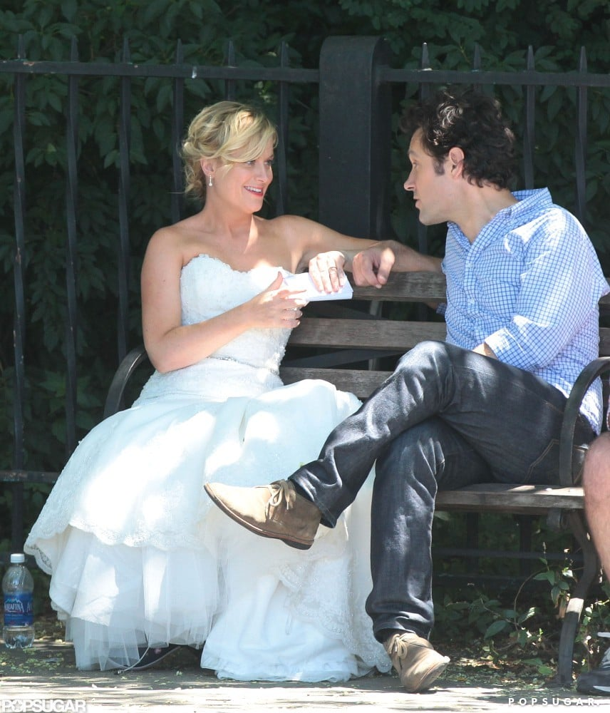 Amy Poehler wore a wedding dress in NYC.