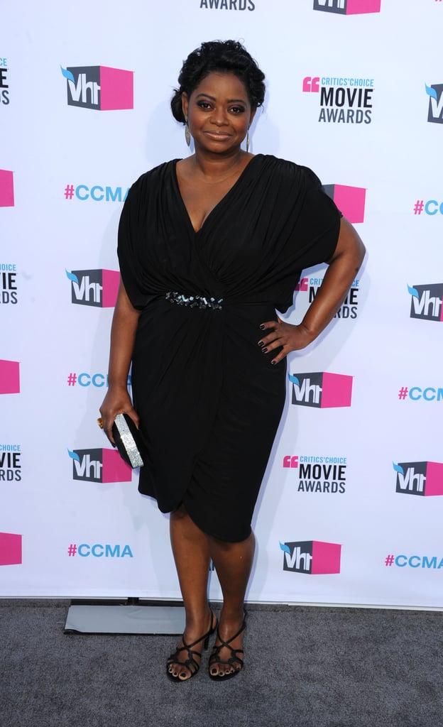 Octavia Spencer smiled on the gray carpet at the 2012 Critics' Choice Movie Awards.