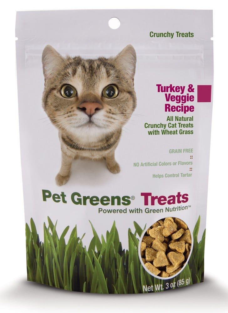Just like our parents still tell us to do at Thanksgiving dinner, you should tell your kitty to eat her veggies! She'd jump at the chance with these Pet Greens crunchy turkey and veggie treats ($5).