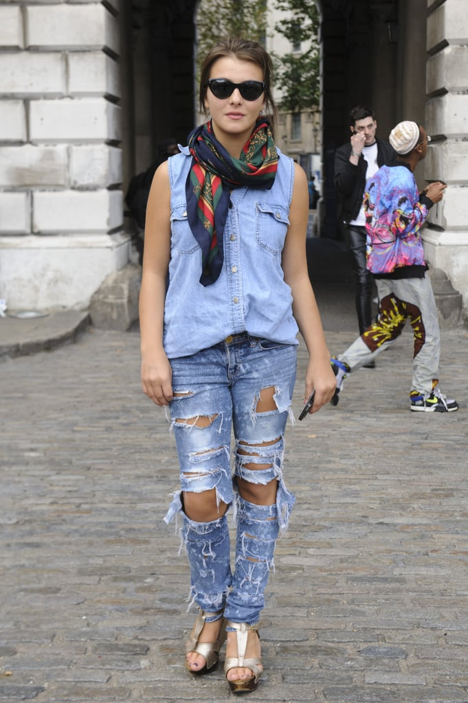 All this denim-on-denim look needed was a polished scarf to finish it off.