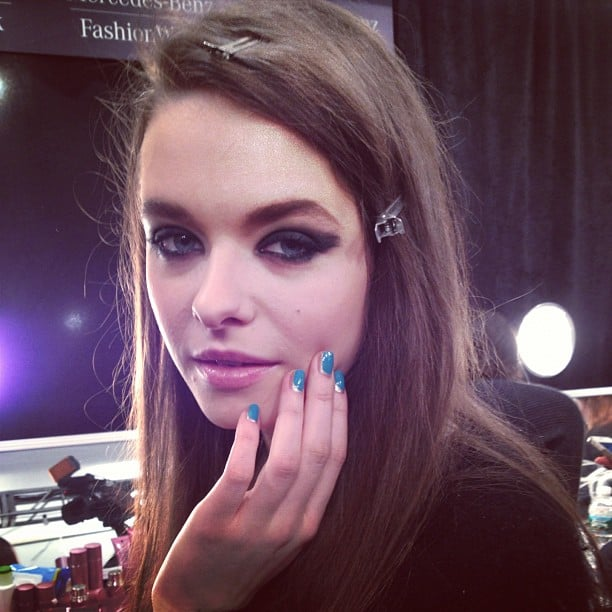 A smudged smoky eye created a next-day makeup look backstage at Tracy Reese.