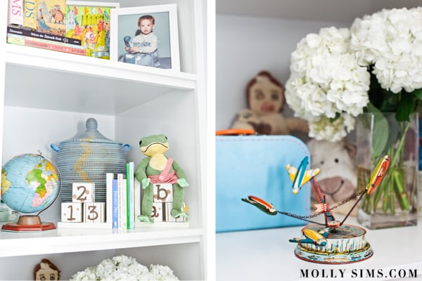 Molly's personal touches can be found on the bookshelves in the room.  Source: MollySims.com