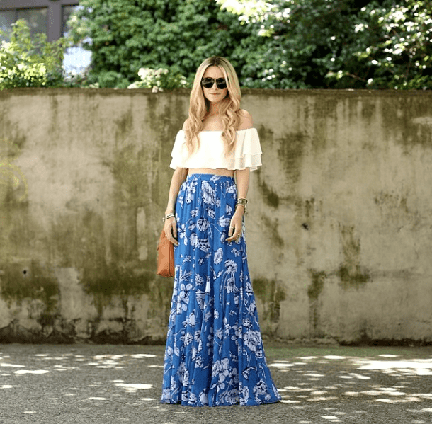 Balance a cropped top with a romantic maxi skirt — the results are certainly Summer party worthy.  Source: Instagram user blaireadiebee