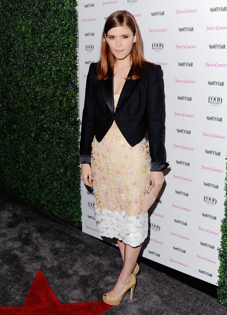 Kate Mara wore an embellished Peter Som Spring '13 gold skirt — and matching bustier — to the Vanity Fair Vanities Calendar party, then completed the look with a tuxedo blazer and peep-toe pumps.