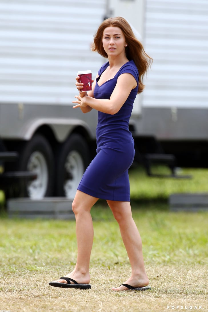 Julianne Hough wore a blue dress on set.