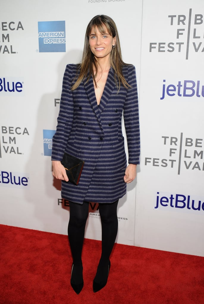 Amanda Peet hit the red carpet for the Trust Me premiere in a striped Band of Outsiders blazer and tights.