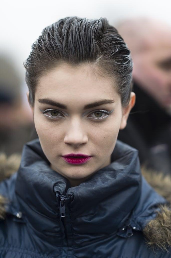 The same gelled-back hair and hot-pink lips looked darling on Antonina Vasylchenko. Source: Le 21ème | Adam Katz Sinding