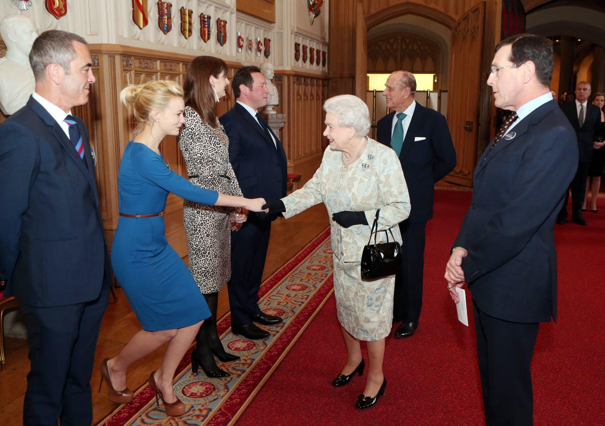 Carey Mulligan met Queen Elizabeth at a reception for the British film industry at Windsor Castle in April 2013.