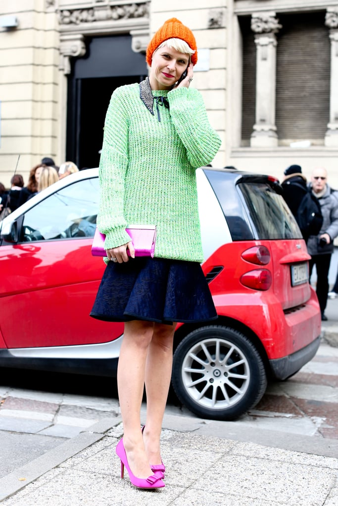 Elisa Nalin howed off a great mix of brights for a sweet-cum-standout effect, right down to her pretty pumps.