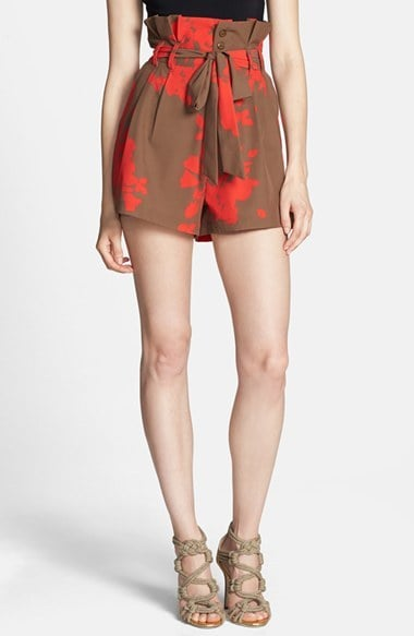 Rules of Etiquette Printed Paper-Bag Waist Shorts