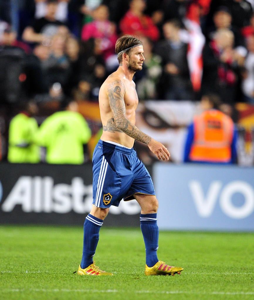 David Beckham strutted his stuff on the field in October 2011 during an LA Galaxy game.