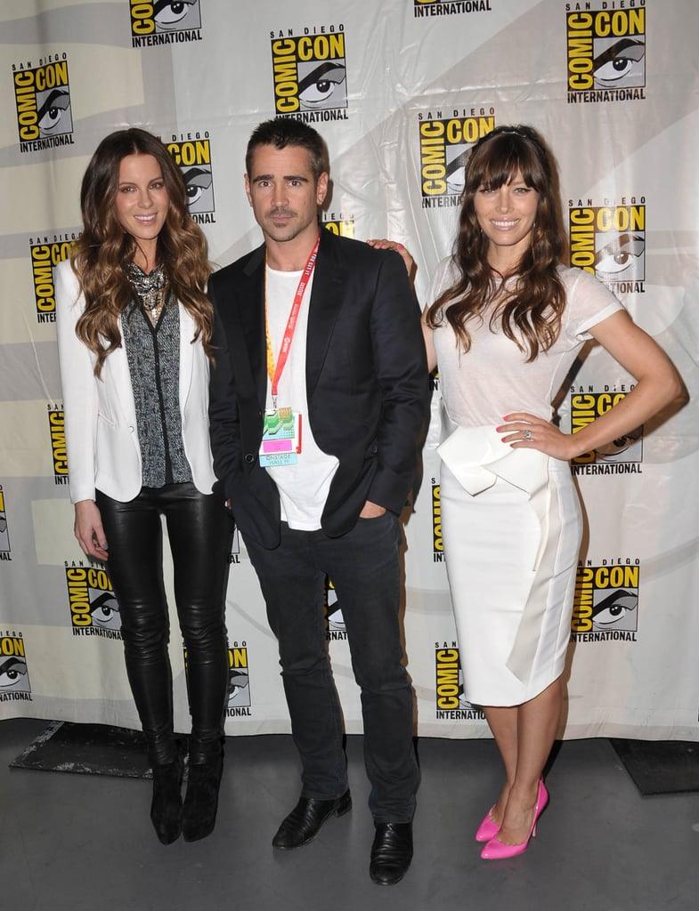 Colin Farrell was flanked by his Total Recall costars, Kate Beckinsale and Jessica Biel, at the film's panel in 2012.