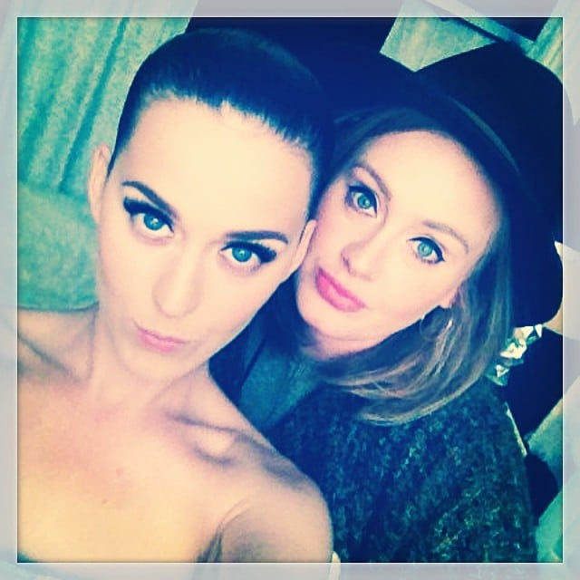 """Adele """"graced"""" Katy Perry with her presence at the """"Dark Horse"""" singer's London concert in June 2014."""