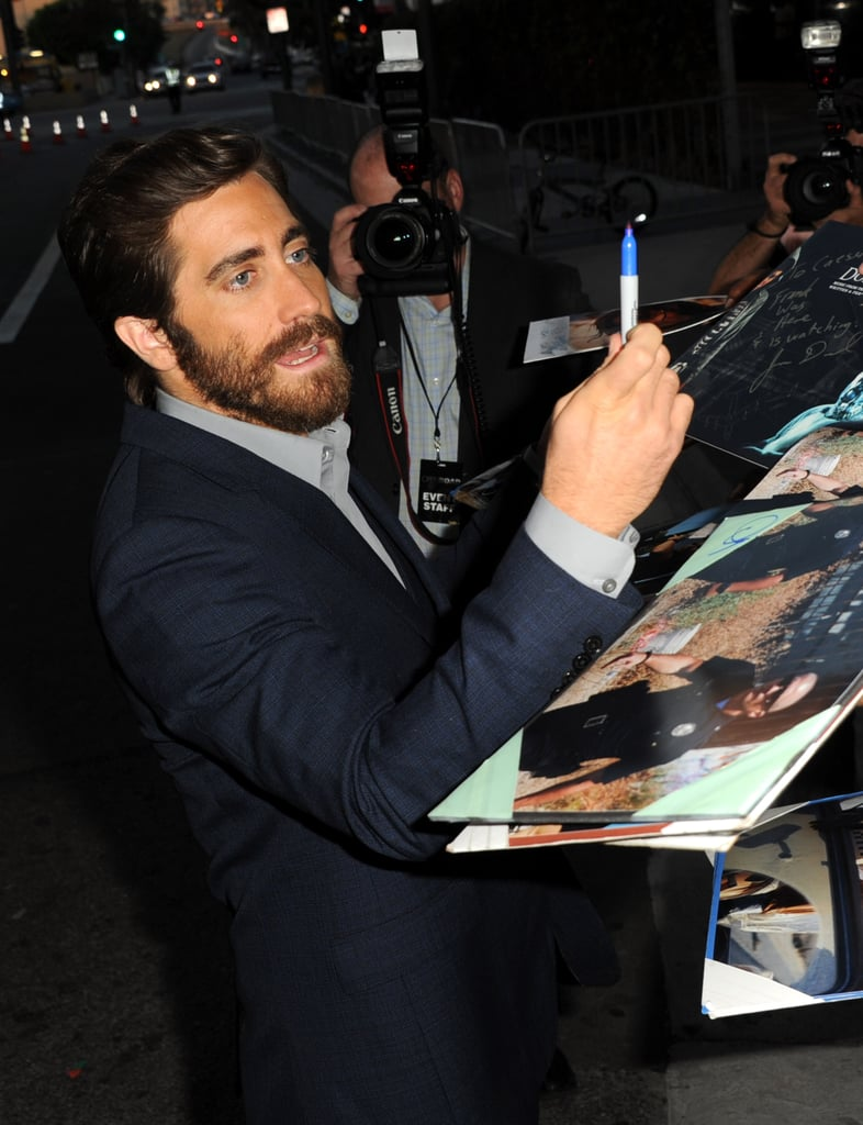 Jake Gyllenhaal signed autographs at the End of Watch premiere in LA.