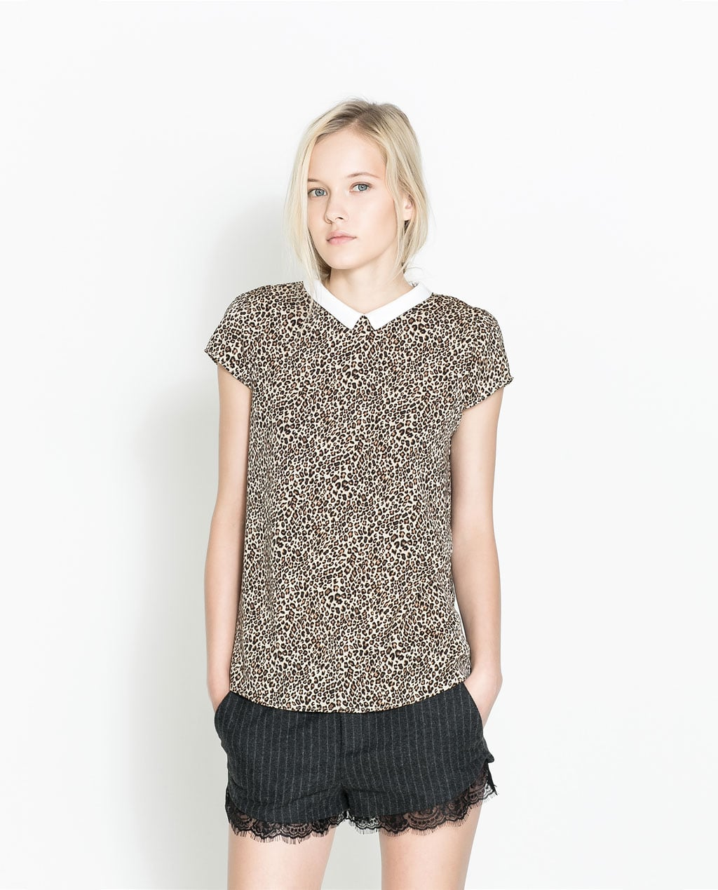 A peter pan collar lends a little sweetness to this Zara leopard print top ($40).