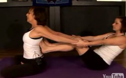Partner Yoga Pose: Feet to Back