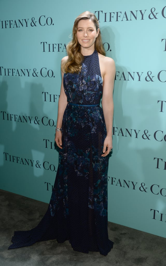 Jessica Biel wowed in a floral-printed Elie Saab gown and Tiffany & Co. diamonds in her gorgeous waves at the Blue Book Ball.