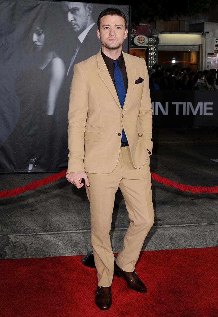Justin showed off a risky colour combo at the In Time premiere in October 2011 —his camel-coloured suit, brown shirt, and navy tie worked surprisingly well together.