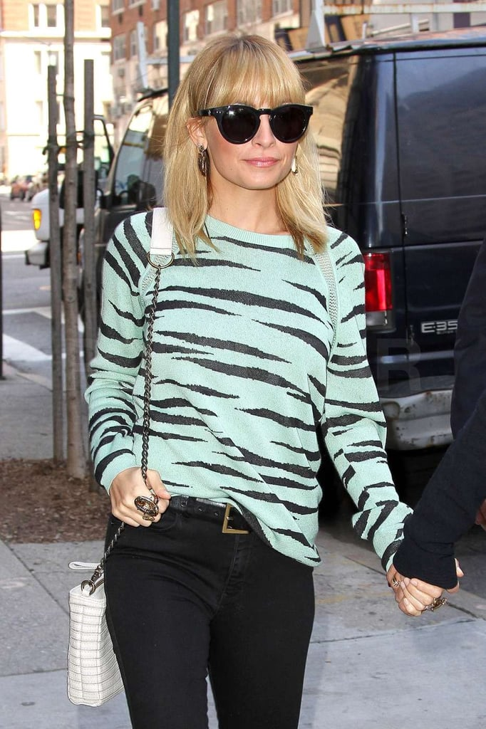 Nicole Richie went for a wild sweater.