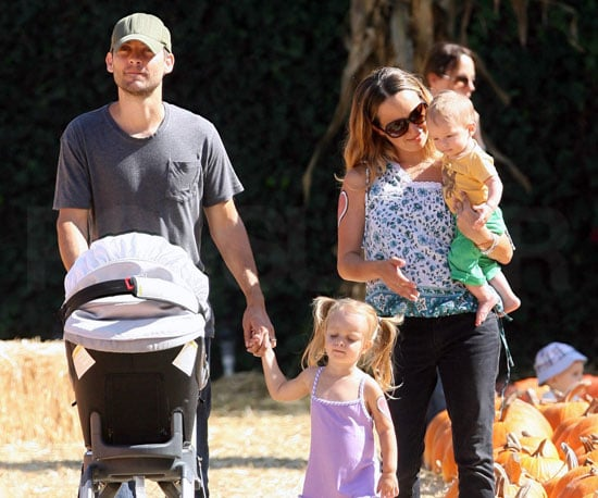 Slide Photo of Tobey Maguire and Jennifer Meyer with Ruby and Otis at Pumpkin Patch