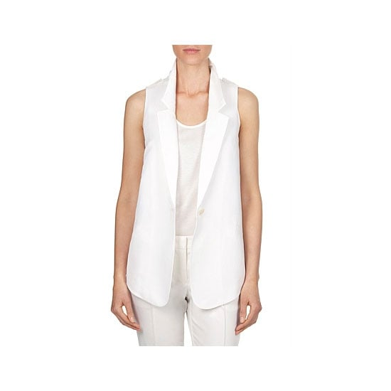 A sleeveless jacket (aka a vest), is the most versatile way in lighten up. Simply throw over your usual office attire for an instant highlight. Sleeveless jacket, $149, Country Road