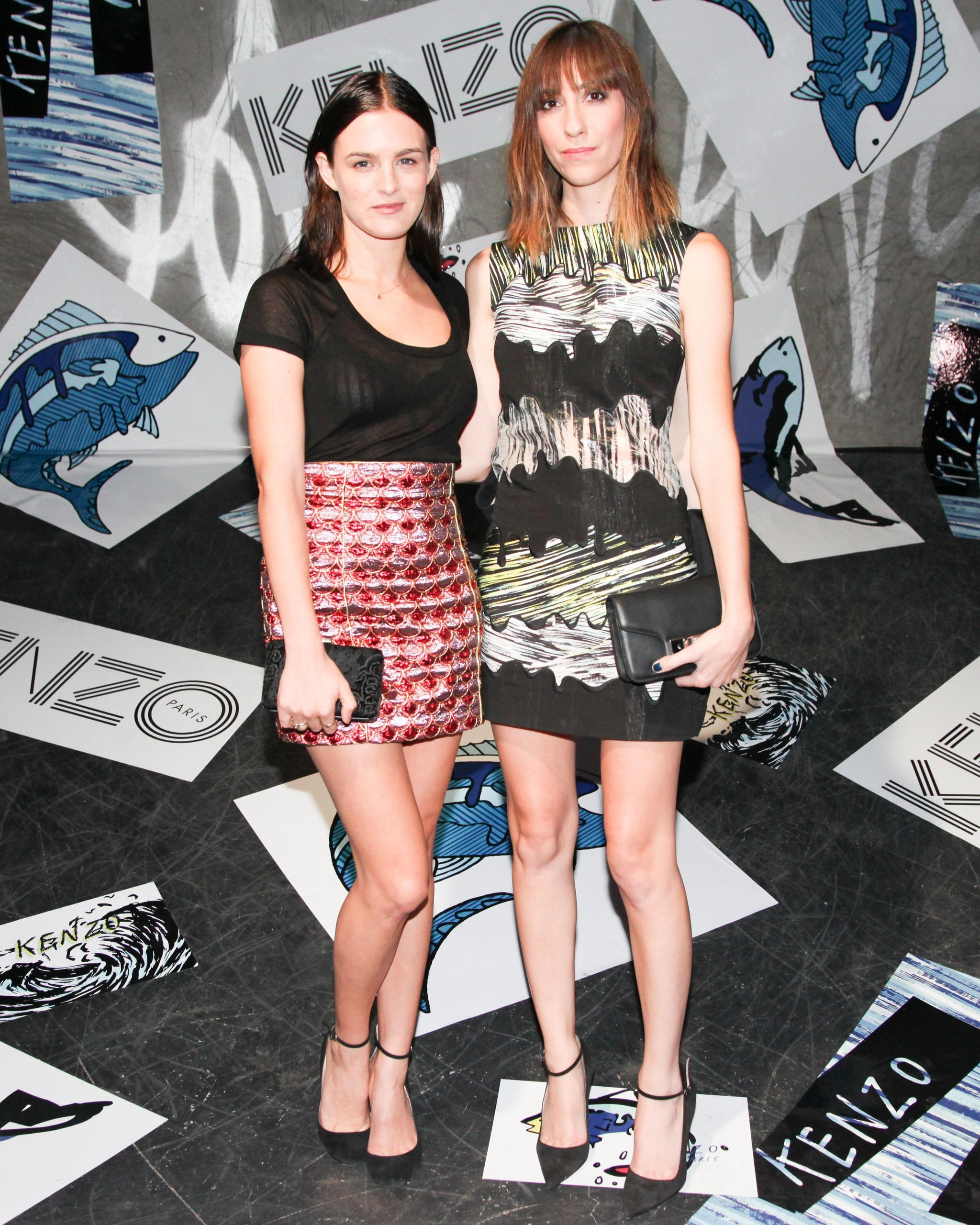 Nathalie Love and Gia Coppola feted the launch of Kenzo's Kalifornia bag in a printed skirt and the label's panel embroidered shift dress.