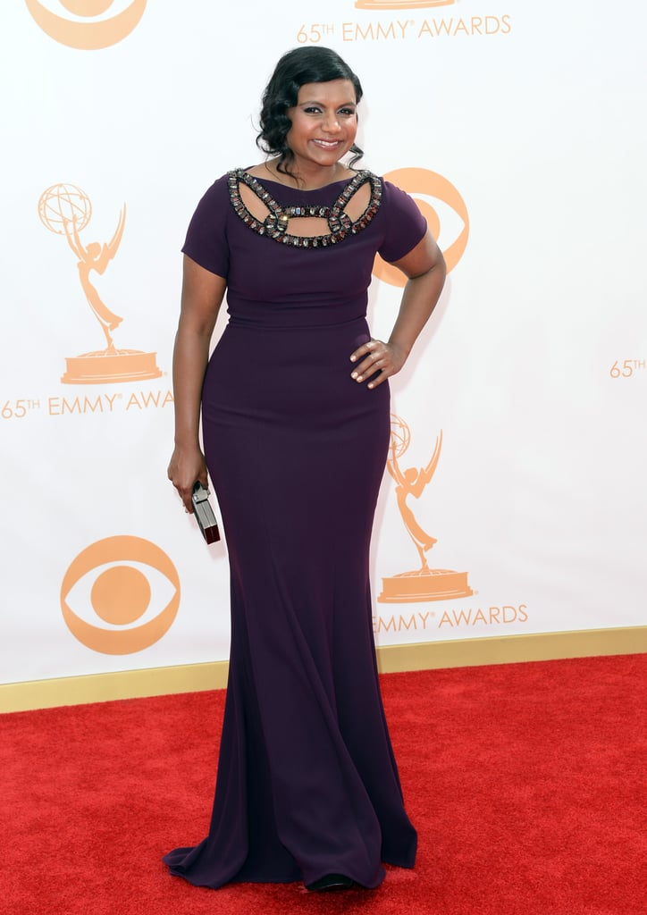 A cutout neckline was the focal point of Mindy Kaling's short-sleeved dress (though we definitely checked out that Jerome C. Rousseau clutch, too!).