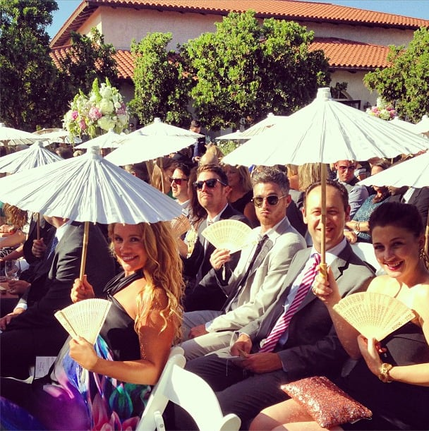 CaCee Cobb and Dave Annable tried to keep cool in the crowd.  Source: Instagram user asands78