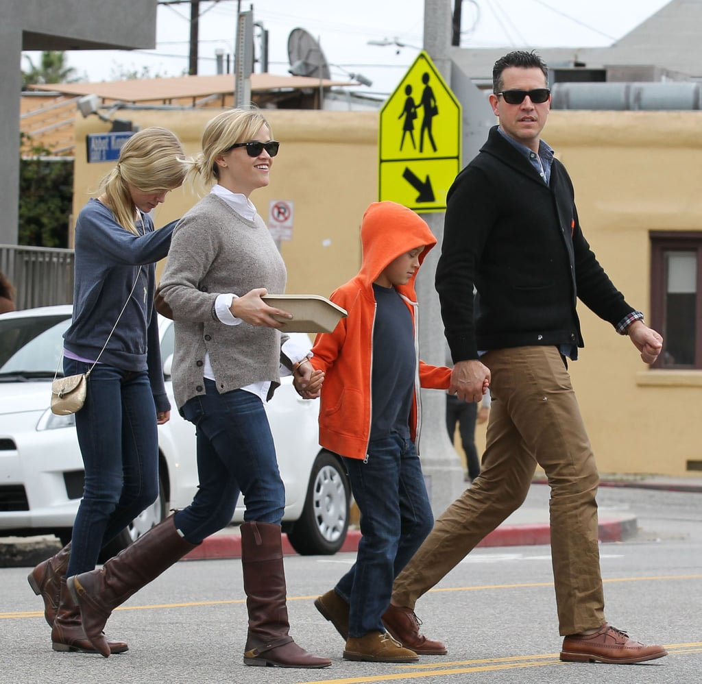 Reese Witherspoon smiled while out to breakfast in LA with her family.
